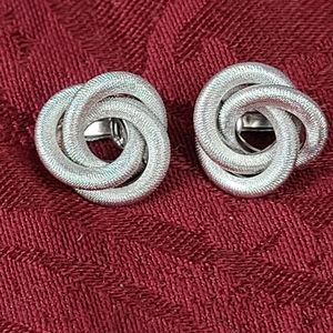 Sarah Coventry silvertone Love Knot clip-ons